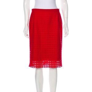 Red Akris Punto Knee-Length Skirt